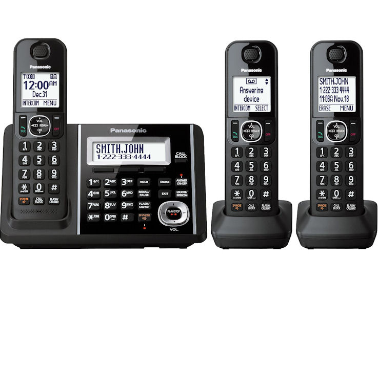 Panasonic KX-TGF343B DECT 6 0 Expandable Digital Bluetooth Cordless Phones  with Talking Caller ID and Digital Answering System - 3 Handset Pack